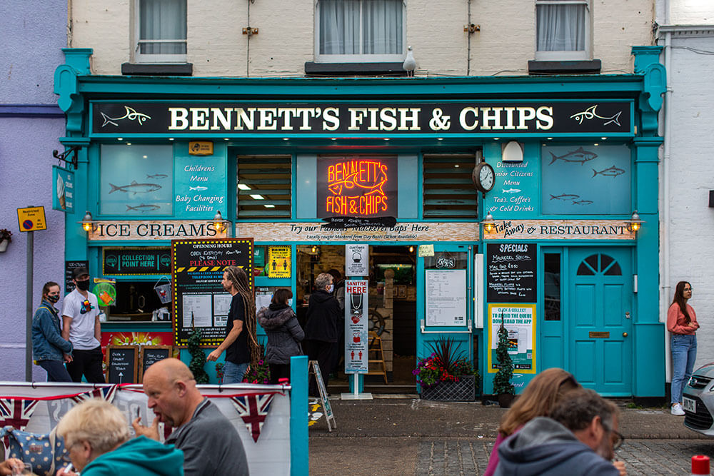 Bennett's Fish and Chips shop harbour frontage